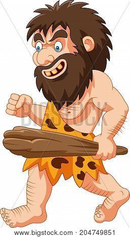 Vector illustration of Cartoon caveman holding club