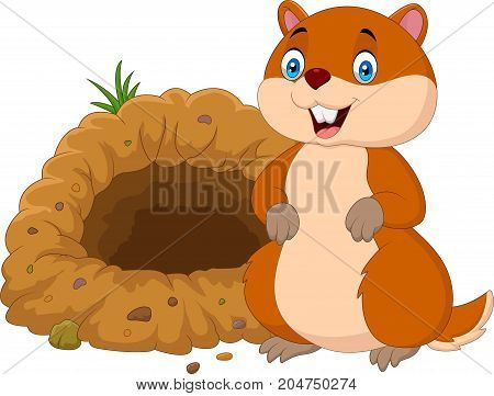Vector illustration of Cartoon groundhog in front of its hole