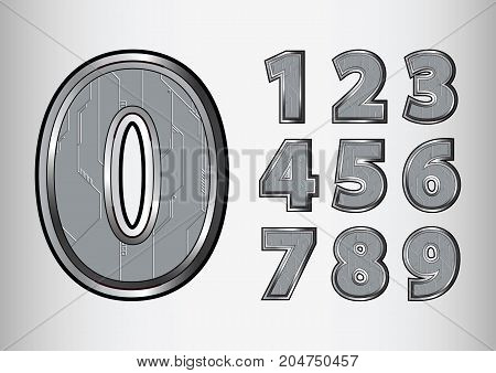 Numbers object scifi tech style. vector illustration.