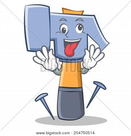 Crazy hammer character cartoon emoticon vector illustration