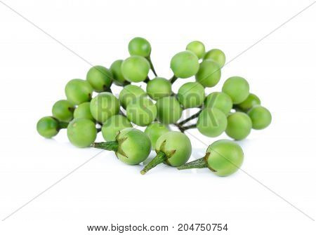 bunch of fresh pea eggplant on white background