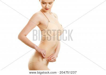 Beautiful Slim Woman Wearing Lace Lingerie.