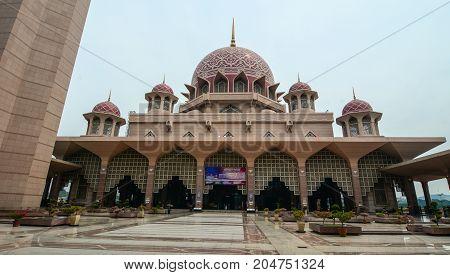 Putra Mosque At Downtown In Putrajaya, Malaysia