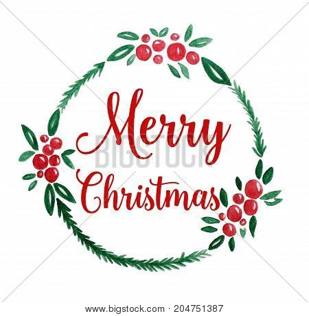 Merry Christmas wreath watercolor drawing on white paper background Christmas greeting card background