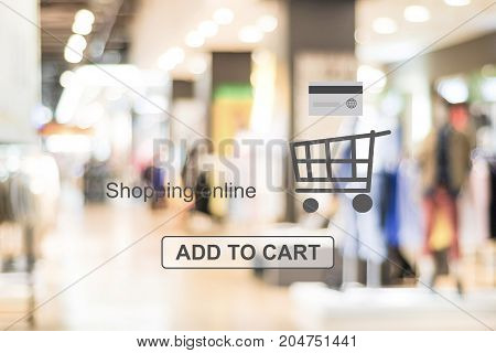 Add to cart and shopping online over blur store background web banner online shopping background business and technology E-commerce digital marketing