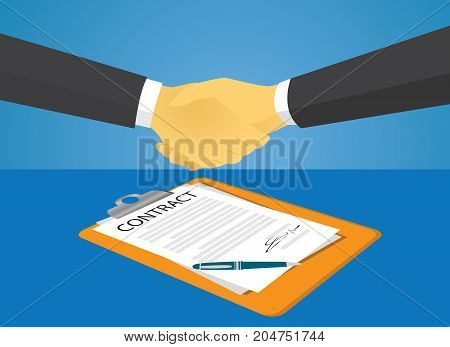 Vector illustration. Business legal agreement concept. Businessman signing contract deal of partnership teamwork
