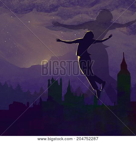 Fly to My Vacant Peace. Video Game's Digital CG Artwork, Colorful Concept Illustration, Realistic Cartoon Style Background