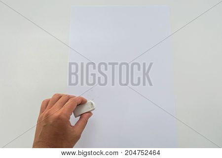 isolated woman remove mock up mistake with rubber