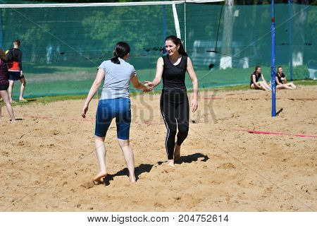 Orenburg, Russia, 9-10 June 2017 Year: Girl Playing Beach Volleyball On City Tournament Beach Volley