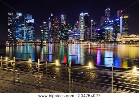 View Of Central Business District Building Of Singapore At Night