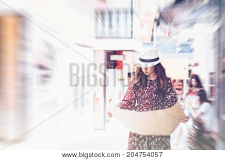 beautiful young asian girl traveling alone at market vintage tone hipster girl time