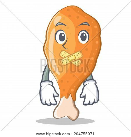 Silent fried chicken character cartoon vector illustration
