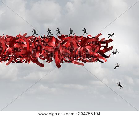 Red tape risk as a bureaucratic problem as employees running and falling in bureaucracy and regulations as a business concept and symbol of government gridlock distress or corporate regulatory confusion.