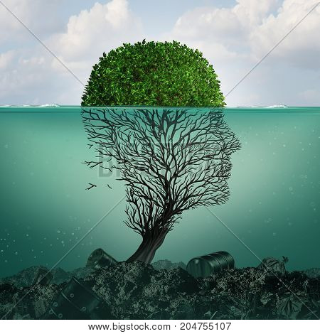 Polluted water contamination with hazardous industrial waste as a tree shaped as a human head underwater with the toxic liquid killing the plant with 3D illustration elements.