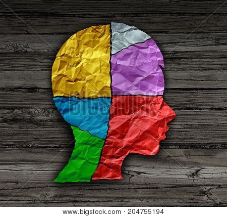 Child mood psychology change as a young person head shape made from crumpled paper as a mental health metaphor for brain thinking disorder and neurology chemistry imbalance or personality changes in a 3D illustration style.