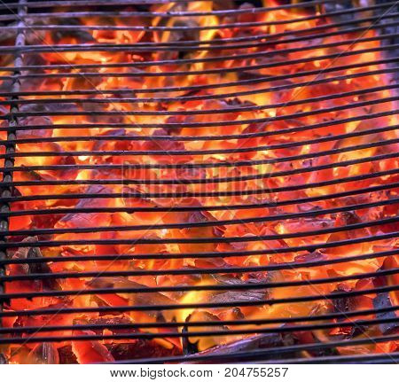 Grill Grid With Fire Flames
