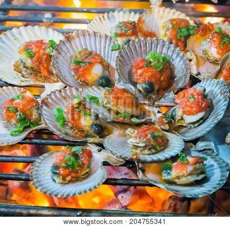 Barbecue Fire Grill Shellfish Molluscs