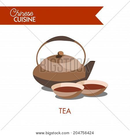 Healthy traditional Chinese tea in clay pot and deep bowls isolated cartoon flat vector illustration on white background. Hot natural drink from oriental country. Favourite Asian tasty beverage.