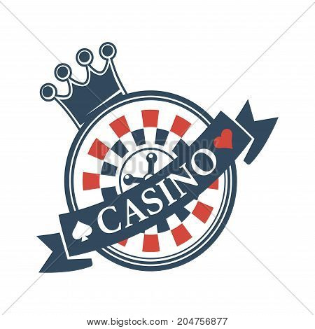 Luxury casino promotional emblem with crown and roulette isolated cartoon flat vector illustration on white background. Expensive place for gambling and big stakes logotype for advertisement.