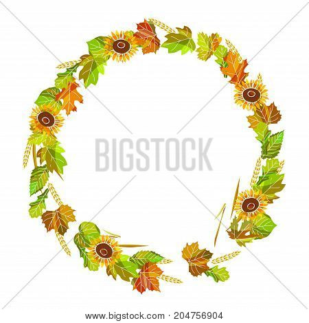 Autumnal wreath made of leaves, ripe sunflowers and golden spikes isolated cartoon flat vector illustration on white background. Seasonal composition with natural elements put in wide circle.