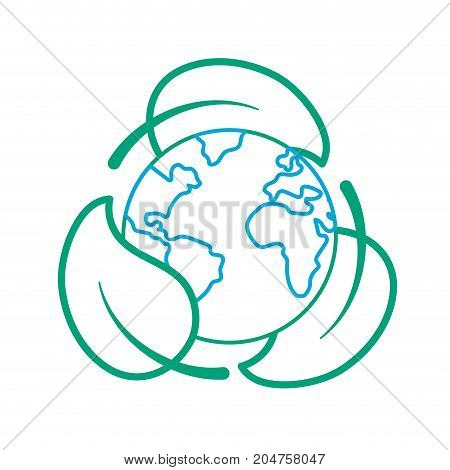 line earth planet with ecological leaves design vector illustration