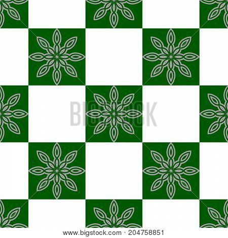 Geometric abstract seamless texture with floral design.Green and white a bstract  background  with  flower design