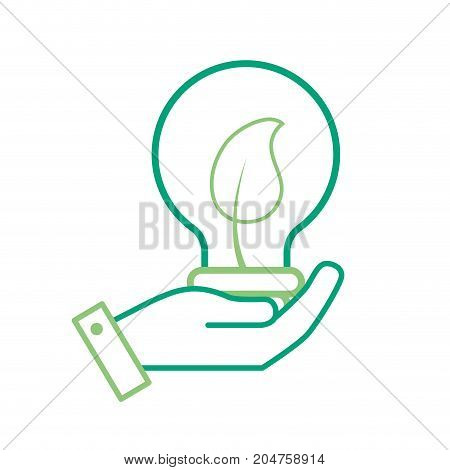 line hand with bulb with leaf inside vector illustration