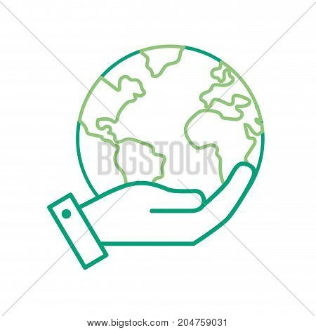 line hand with earth planet and natural ecology vector illustration