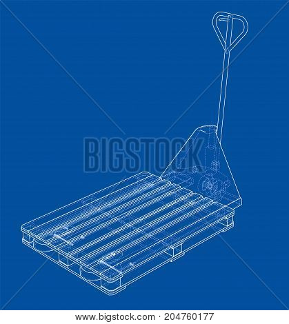 Hand pallet truck with pallet. Vector rendering of 3d. Wire-frame style. The layers of visible and invisible lines are separated