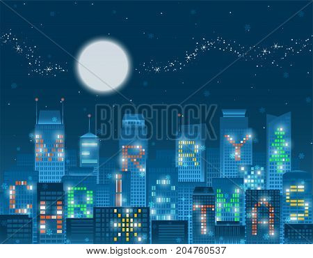 Colorful Merry Christmas alphabets on illuminated windows of high rise buildings grouping in a night city with falling snow flakes under the glowing moon sparkling milky way and stars