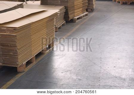 stack of carton boxes ready for shipment in factory