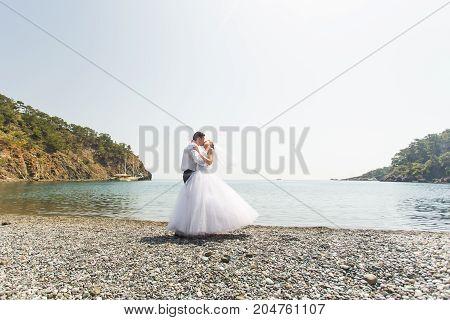 Couple Love Beach Romance Togetherness Concept near sea