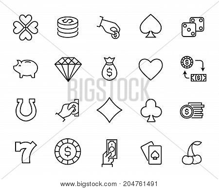 Premium set of gambling line icons. Simple pictograms pack. Stroke vector illustration on a white background. Modern outline style icons collection.