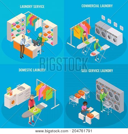 Vector set of laundry concepts. Laundry service, commercial, domestic and self-service laundry isometric templates for posters, banners, flyers.