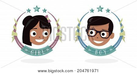 Children icon. The baby head. Happy girl and boy.