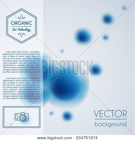 Blue abstract molecule group background. Vector template for scientific conference, forum, microbiology or genetics research, innovations in medicine