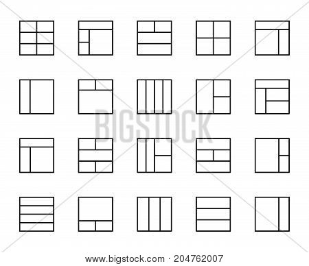 Premium set of layout line icons. Simple pictograms pack. Stroke vector illustration on a white background. Modern outline style icons collection.