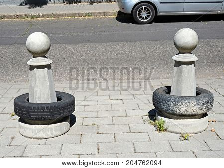 Road bollards on the street in the city