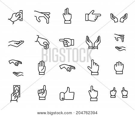 Premium set of hand line icons. Simple pictograms pack. Stroke vector illustration on a white background. Modern outline style icons collection.