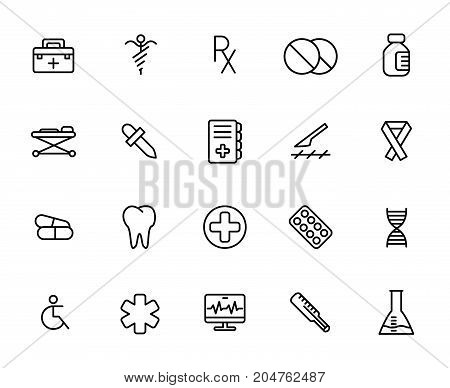 Premium set of medical line icons. Simple pictograms pack. Stroke vector illustration on a white background. Modern outline style icons collection.