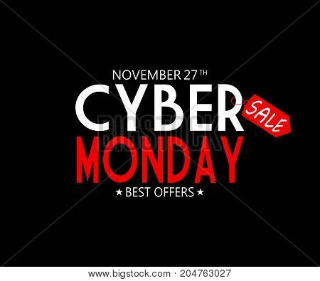 CYBER MONDAY TEXT AS AN ILLUSTRATION ON BLACK BACKGROUND. CYBER MONDAY BACKGROUND WITH RED PRICE TAG. CYBER MONDAY BANNER.