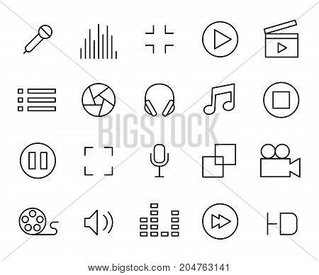 Premium set of audio and video line icons. Simple pictograms pack. Stroke vector illustration on a white background. Modern outline style icons collection.