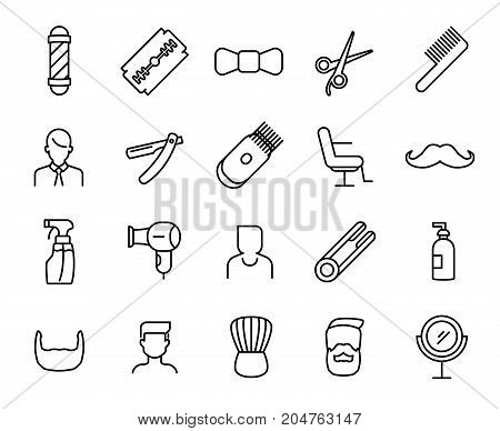 Premium set of barber line icons. Simple pictograms pack. Stroke vector illustration on a white background. Modern outline style icons collection.