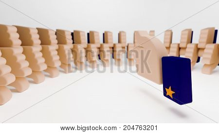 Thumb up sign surrounded by a crowd of thumb down signs in neat circular formation. The 3d illustration portrays disapproval of everyone present in a meeting or campaign. It also denotes everybody disliking an idea.