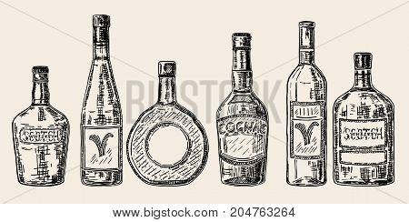 Vector vintage hand drawn illustration of bottles for alcoholic beverages, drinks. Wine, brandy, whiskey, cognac, vodka bottle set.