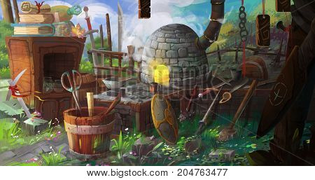 3D Illustration Medieval BlackSmith's Shop. Video Game's Digital CG Artwork, Colorful Concept Illustration, Realistic Cartoon Style Background