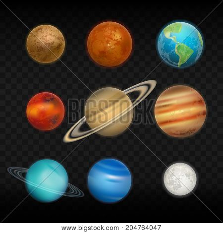 Vector transparent realistic set of solar system planets.