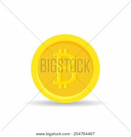 Golden bitcoin digital currency isolated on white background, gold money - vector illustration.