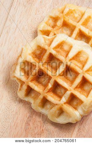 Waffle on wood ware - Stock Image