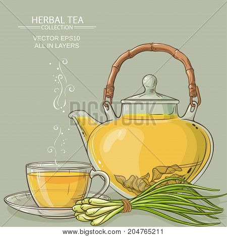 cup of lemongrass tea and teapot on color background